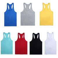Wholesale muscle tank tops for men - 2018 New Fitness Men Blank Stringer Cotton Tank Top Singlet Bodybuilding Sport Undershirt Clothes Gym Vest Muscle Singlet for hot Selling