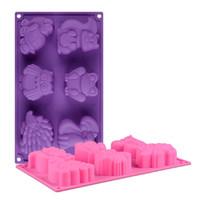 bolos para pequenos animais venda por atacado-3d molde de silicone de chocolate diy bolo decoração ferramentas de cozimento de pequenos animais raposa coruja sapo molde de pastelaria cubo de gelo moldes de sabão cor aleatória