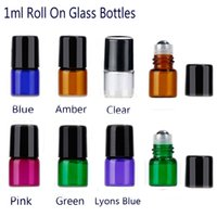 Wholesale green glass roll bottles - 1ml Glass Roll On Bottles Amber Blue Clear Pink Green lyons blue With Stainless Steel Ball for Essential Oil