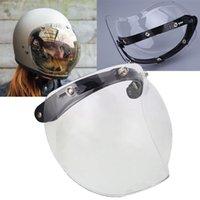 escudos de bolha venda por atacado-Ao ar livre 3 Snap Bolha Escudo Máscara Viseira Para A Motocicleta Rosto Aberto Capacete capacete bolha escudo caminhadas óculos Esqui Glassws