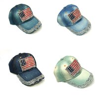 27a8509abb3 Fashion Baseball Cap Women Men American Flag Rhinestone Jeans Denim  Snapback Casquette Adjustable Designer Bling Fitted Hat 77bc ZZ