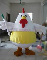 traje de frango branco adultos venda por atacado-New white hen mascot costume Frete grátis tamanho adulto, frango mascote de luxo festa de carnaval de brinquedo de pelúcia comemora vendas de fábrica de mascote.