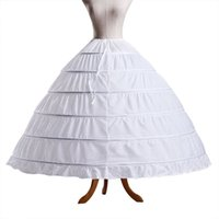 vestidos de noiva anáguas venda por atacado-Branco 6 Hoops Bola Vestido Petticoat Frete Grátis Crinolina Underskirt Anáguas De Noiva Slip Skin Crinolina Para Vestidos de Casamento Quinceanera