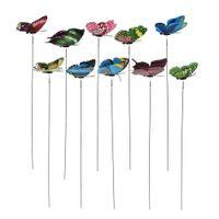 ingrosso ali del giardino-20pcs modalità 3D doppia ala farfalle artificiali sul bastone partito di nozze decorazioni per la casa in miniatura fata giardino piante fai da te mestiere
