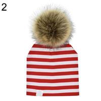 ingrosso modello beanie per bambini-Stripes Stars Pattern Winter Kids Fashion Beanie Hat Cap con finta pelliccia Pompon
