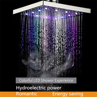 Wholesale light bulbs change colors online - Waterfall colorful LED shower head Inch colors light change square Ceiling rainfall showerhead Bathroom accessories Hydroelectric power
