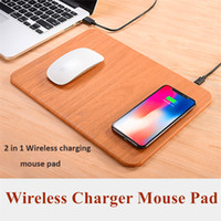 Wholesale Mouse Pad Mat Fashion - 2018 Fashion Qi Wireless Charger Mouse Pad Multi-function Wood Mouse Mat Charge for iPhone 8 X Samsung S8 S7 with Retail Package