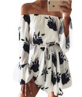 ingrosso abito al ginocchio alto per le donne-New Summer Off Shoulder Dress per le donne Sexy lunghezza del ginocchio abiti a maniche lunghe Flora alta stampa Backless Abbigliamento