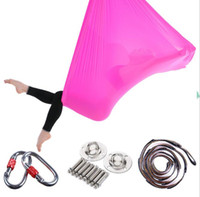 Wholesale anti gravity yoga swing resale online - 5 m aerial yoga antigravity hammock anti gravity yoga swing bed resistance yoga training band AntiGravity hammock with accessaries
