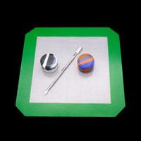 ingrosso utensili per utensili-Kit di strumenti dab silicone Set con tappetino pad in silicone Contenitori tamponando per cera Dabs vasetti In acciaio inox titanio Dabber Tool per bong oil rig