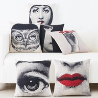 Wholesale lips chair online - Fornasetti Beauty Girls Face Art Cushion Covers Mask Eye Red Lips Cushion Cover Decorative Linen Cotton Pillow Case For Sofa Couch Chair