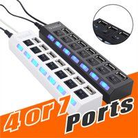Wholesale pc hubs - Hight Quality 4 or 7 Port USB Extension Splitter Hi-speed USB2.0 480Mbps USB Hub Ports Compatible with USB 1.1 1.0 For Laptop PC NO Package