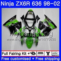 zx6r grün großhandel-ZX-6R Für KAWASAKI NINJA ZX600 600CC ZX636 ZX6R 98 99 00 01 02 212HM.0 ZX-636 ZX 6R 636 6 R 1998 1999 2000 2001 2002 Verkleidungsfabrik grün
