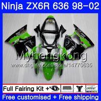 zx6r verde al por mayor-ZX-6R Para KAWASAKI NINJA ZX600 600CC ZX636 ZX6R 98 99 00 01 02 212HM.0 ZX-636 ZX 6R 636 6 R 1998 1999 2000 2001 2002 Fairing Factory verde