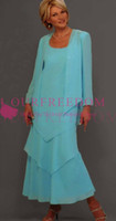Wholesale turquoise dresses sleeves - 2018 Elegant Turquoise Mother Of The Bride Dresses Square Neck Pleated Beading Chiffon Ankle Length Women Party Dress Prom Dress