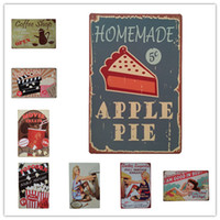 Wholesale girl pop art - Apple Pie Pop Corn Pinup Lady Girl Coffee Vintage Retro Metal Tin Sign Retro Metal Painting Poster Bar Pub Signs Wall Art Sticker