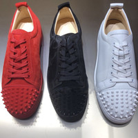 b3d249cb9d8 Wholesale red bottom shoes men online - Designer Sneakers Red Bottom shoe  Low Cut Suede spike