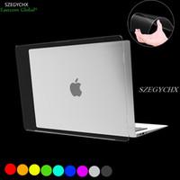 clavier dur achat en gros de-cristal dur affaire shell shell pour Macbook Air Pro Retina 11 12 13 15 13.3 pouces avec barre tactile + couvercle du clavier Transparent