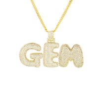 Wholesale men s gold chain necklace - Personalized Custom Name Bubble Letters Pendant Men s Hip Hop Necklace Gold Silver Rose Gold CZ alphabet Charm Rope chains For women Jewelry
