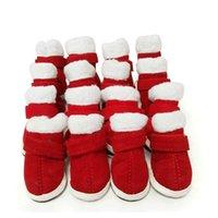 ingrosso scarpe sportive di decorazione-5 misure scarpe cane caldo per gli sport da passeggio indossabili impermeabili suole antiscivolo stivali da neve abbigliamento scarpe di Natale pet decorazione natalizia
