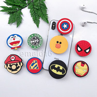Wholesale phone holder cartoon online – DHL Silicone Cartoon Holders Super Hero Expanding Holder Stand Grip Clip Ring for SmartPhone Air Bag Cell Phone Bracket With Package