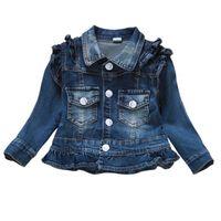 ceket çocuk kız kot toptan satış-Bebek Kız Giysileri Kot Ceket Babe Kız Kot Ceket Denim Giyim Çocuk Giyim Ilkbahar Sonbahar Çocuklar Kıyafetler