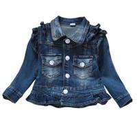 ingrosso vestiti della molla della neonata-Vestiti delle neonate Cappotto dei jeans Babe Jeans delle ragazze Giacca Capispalla denim Abbigliamento per bambini Primavera Autunno Abiti per bambini