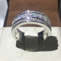 Wholesale ring stone for male - Classic Male Ring 3mm 5A Zircon stone AAA Cz Party Engagement wedding band ring for Men White gold filled Jewelry size5-10