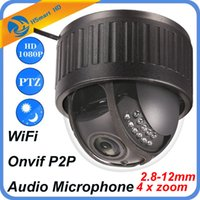 Wholesale Ptz Onvif - HD 1080P 4X Optical Zoom IP Camera WiFi Wireless CCTV Dome Indoor Security PTZ 2.8-12mm IR LED Camera Audio Microphone Onvif P2P