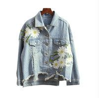Wholesale Women S Korean Jacket - 2017 Korean Harajuku Daisy Floral Patch Design Embroidery Asymmetrical Denim Jacket Female jean jacket outwear s449