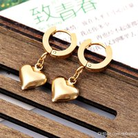 Wholesale Cross Border For European Popular Fashion Earrings Stainless Steel Gold plated Concise Love Ear Pendant Nail