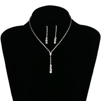 ingrosso insieme bianco della collana del rhinestone-Collana di orecchini d'argento nuziale set gioielli da sposa a buon mercato vendita calda santo bianco strass di cristallo partito prom cocktail party in magazzino