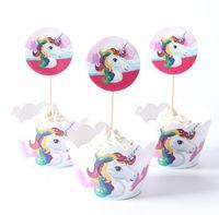 bebek duş pastaları cupcakes toptan satış-24 Adet / takım Unicorn Gökkuşağı cupCake Toppers kek Sarmalayıcılar Doğum Günü Pastası Dekorasyon Bebek Duş Parti Malzemeleri dekorasyon araçları