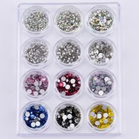 loose nails - Round Glass flatback loose rhinestones for nails ss4 ss20 strass crystal ab nail art rhinestones decoration set color mix YST09