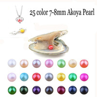 Wholesale purple black pearl earrings - Wholesale2018 Natural Akoya 7-8mm Mix Colors Freshwater Round Pearl Oyster For DIY Making Necklace Bracele Earrings Ring Jewelry Gift