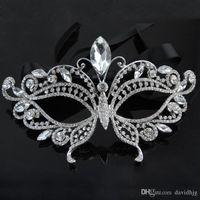 Wholesale Rhinestone Eye Mask - 2018 Silver Tone Venetian Bridal Masquerade Rhinestone Crystal Eye Mask Halloween Fancy Dress Ball Party Mask