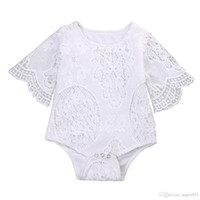 Wholesale 5t christmas outfit - Lovely Gifts Baby Girls White ruffles Sleeve Romper Infant Lace Jumpsuit Clothes Sunsuit Outfits