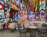 Wholesale pop art wall decoration resale online - 3d wallpaper custom photo mural Modern pop street art graffiti bar Home decoration d wall murals wallpaper for walls d living room