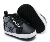 ingrosso infant shoes lace-2019 Primavera Autunno Scarpe da bambino Neonati Canvas Lace-up Scarpe da primo camminatore infantile Prewalker Scarpe 0-18Mos