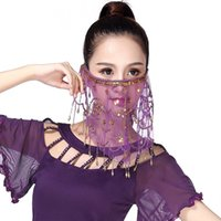 fantasia de dança do ventre azul real venda por atacado-Belly Womens dança cara Veil Sequins Tribal partido do carnaval Traje Scarf W729