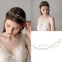 braut trägt krone großhandel-Luxus Fee Silber Perlen Braut Kopfbedeckungen Für Formelle Anlässe Frauen Party Zubehör Haarbänder Braut Kronen Tragen CPA1426