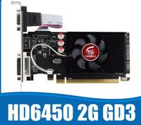 tarjetas de video nvidia al por mayor-Tarjetas de gráficos GPU Veineda originales HD6450 Tarjeta de video gráfica DDR3 HDMI de 2GB PCI Express para ATI Radeon Gaming