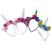 Wholesale cosplay animal ears - Baby Unicorn hair sticks Mermaid sequin Flower headwear Kids Hairband Party headwear Cosplay Crown Cat Ears Headband HairAccessories KFG23