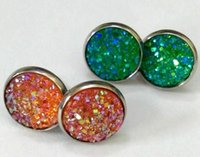 Wholesale earings sets - 20Pairs lot druzy Fashion Stud Earrings Set For Women Elegant Mixed Crystal stainless steel drusy Earings Jewelry 12 Styles