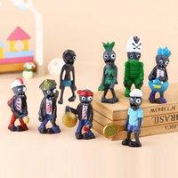 Wholesale vs models - 8pcs set Mini Plants vs Zombies figure Action Figures kids Toys Doll cartoon Micro Land model Figures gift Novelty Items FFA500