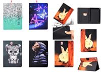 ipad мини кожаный мультфильм случае оптовых-Мультфильм кошка кошелек с леопардовым принтом кожаный чехол для Ipad Air 2 Новый Ipad 2017 2018 Pro 10.5 Mini 1 2 3 4 Butterfly Tree Sky Sand Skin Cover 20шт