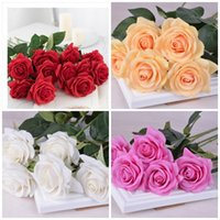 Wholesale artificial diamond flowers - Moisture Single Branch Artificial Flowers For Valentine Day Wedding Party Decoration Supplies Fake Simulation Diamond Rose Flower 3 5hz YB