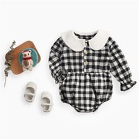 Wholesale led dolls for sale - Group buy 2019 baby clothes autumn and winter clothes plaid baby onesies dolls lead newborn