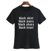 harajuku noir chaussures femmes achat en gros de-Tee Hipster Goth T Shirt Femme Noir Harajuku Dire Chemise Noire, Jean Noir, Chaussures, Coeur Tumblr T Shirt Femme Vêtements