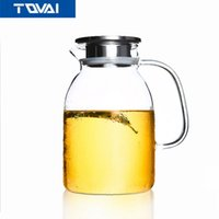 Wholesale Bamboo Drinking Glasses - TQVAI-Large Capacity Drinkware 1800ml,Glass Teapot,Flower Teapot,Kettle with Steel Lid or Bamboo Lid